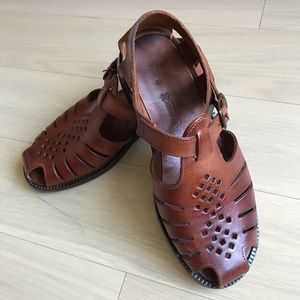 Tan Thick Leather Summer Sandals Italy